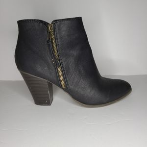Charlotte Russe Black Faux Leather Ankle Boots